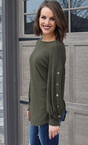 Olive Balloon Sleeve Sweater with Buttons