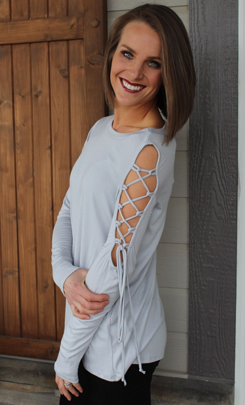 Light Grey Long Sleeve Top with Tie Detail