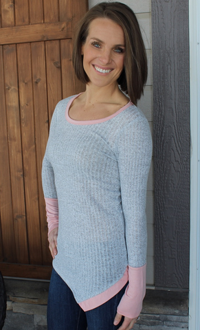 Grey Ribbed Long Sleeve Top with Light Pink Accents and Bottom Buttons