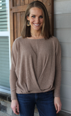 She & Sky Mocha Pin Tucked Sweater