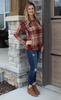 Red Plaid Dolman Style Medium Weight Sweater