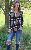 Medium Weight Plaid Sweater with Elbow Patches and Banded Bottom