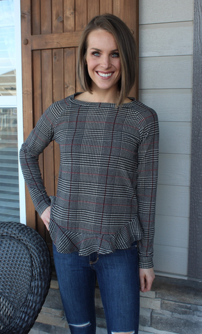 Red, Black and Grey Plaid Peplum Top with Ruffle Bottom