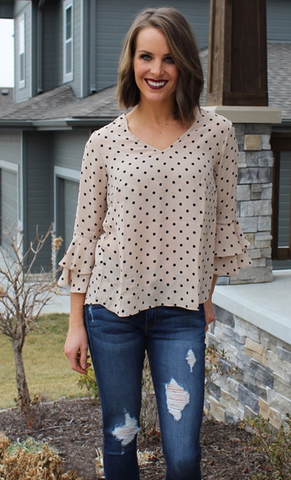 Taupe and Black Polka Dot Blouse