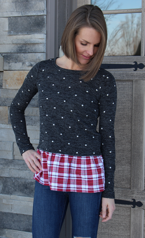 Polka Dot and Plaid Peplum Sweater