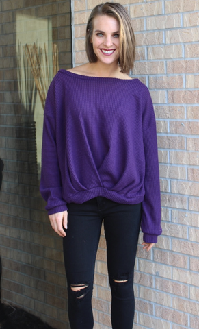Violet Boat Neck Thermal Sweater