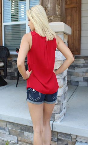 Naked Zebra Brand Crimson or Black Tank Top with Gold Adjustable Buckles