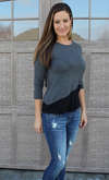 Lightweight Dark Grey ¾ Sleeve Top with Asymmetrical Black Bottom