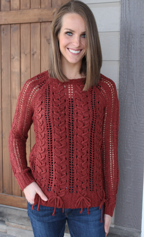 Rust Colored Knit Sweater with Bottom Tie Detail
