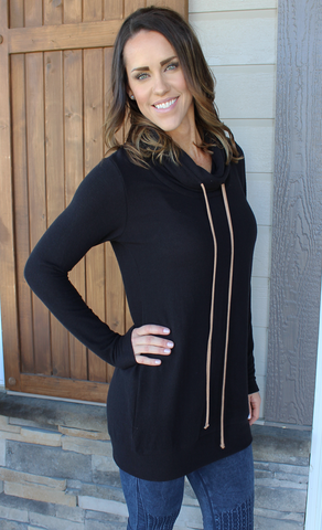 Soft Longer Length Cowl Neck Drawstring Tunic
