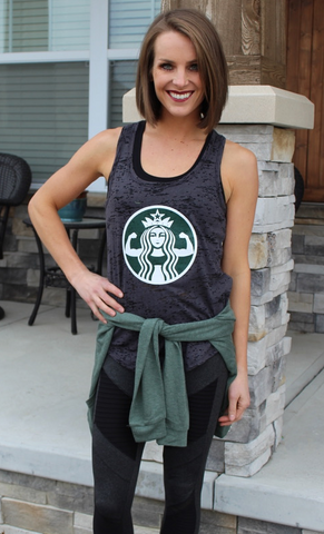 Grey Muscle Tank with Starbucks-esque Logo