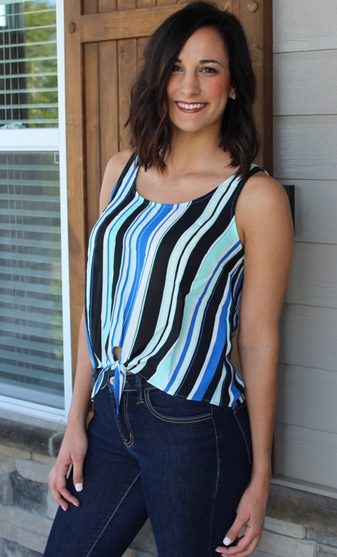 Blue and Black Striped Tank with Self Tie Bottom