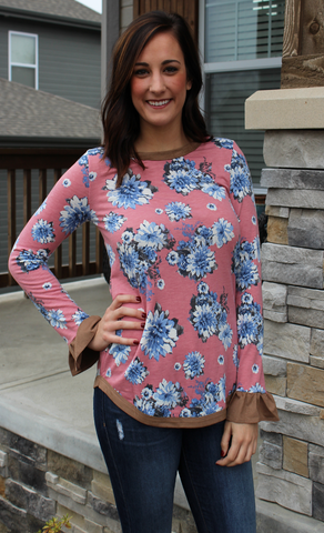 Pink and Blue Floral Long Sleeve Top with Suede Detail