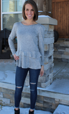 Super Soft Round Neck Sweater with Ruffle Details