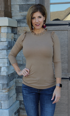 Chestnut Ribbed Ruffle Mock Neck Top