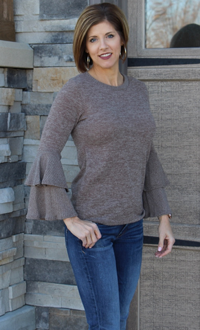 Burgundy or Taupe Ruffle Sleeve Sweater