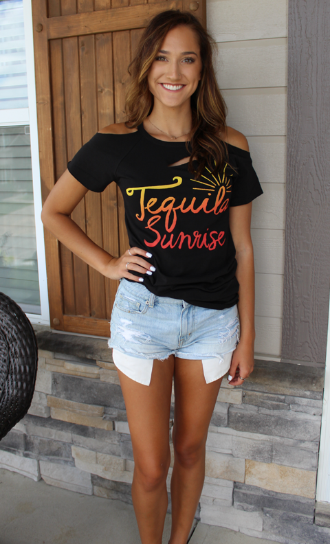 Tequila Sunrise Cut-Out T-Shirt