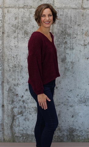Burgundy Deep V Sweater