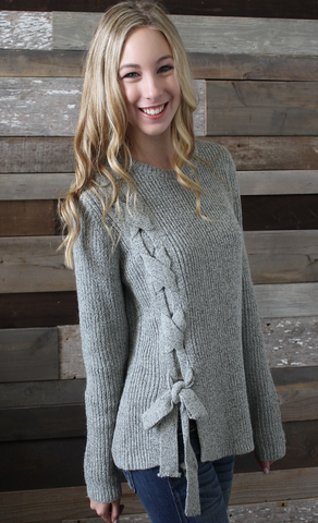 Grey Ribbed Long Sleeve Sweater with Side Tie Detail