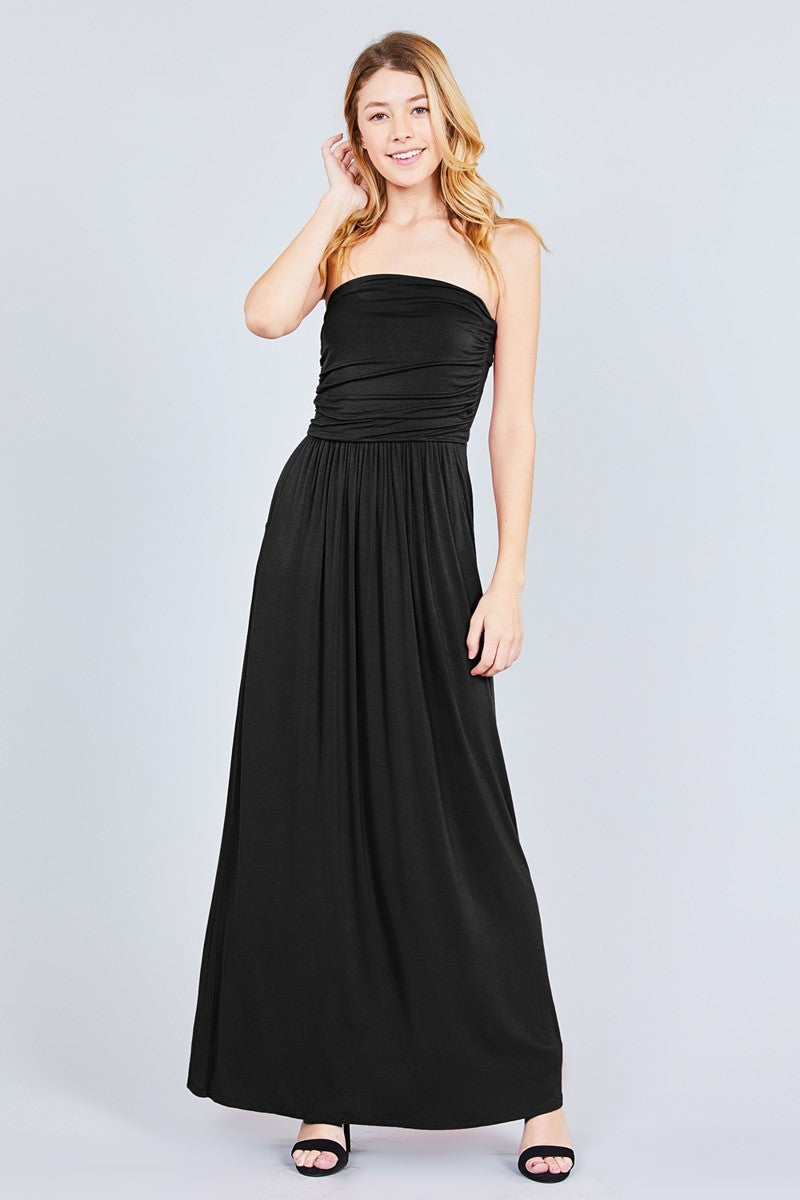 6ff18d8fed Black Strapless Maxi Dress With Pockets - Gomes Weine AG