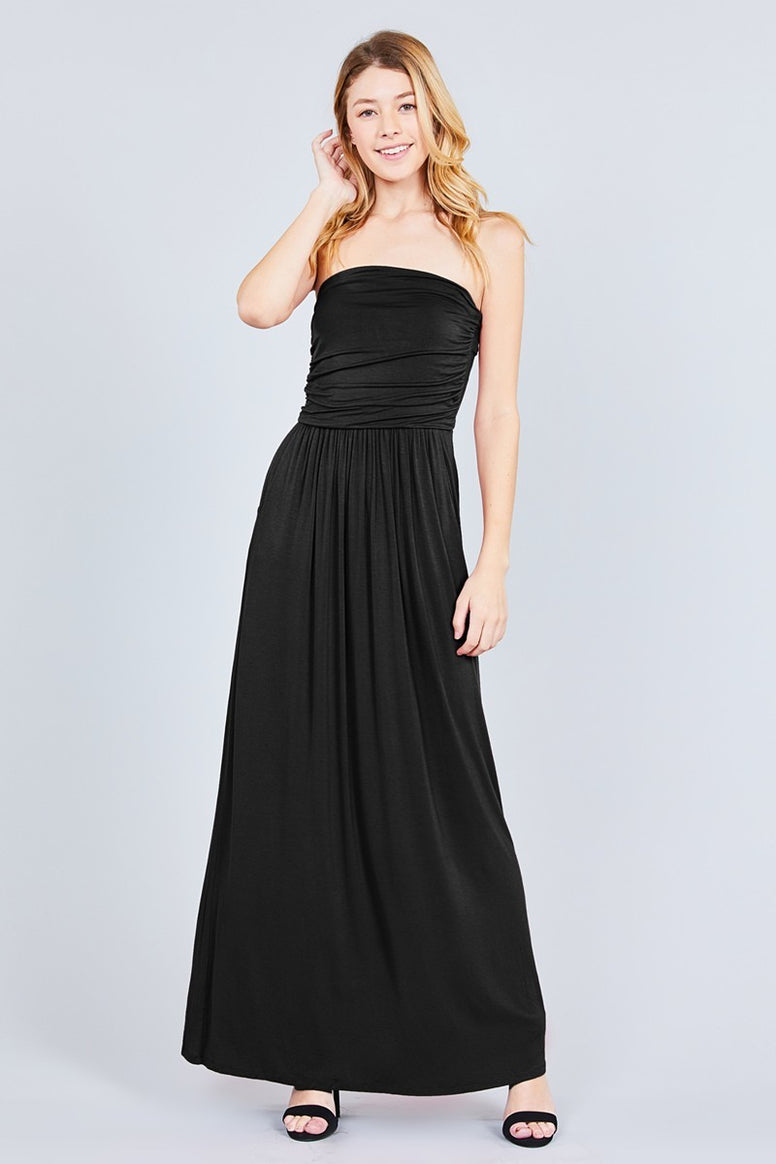 Black Tube Top Maxi Dress with Pockets