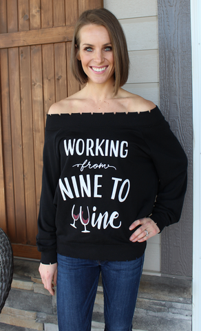 Nine to Wine Off the Shoulder Scalloped Sweatshirt