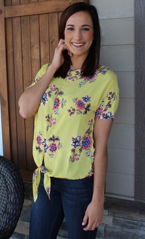 Yellow Short Sleeve Top with Floral Print and Tie Detail