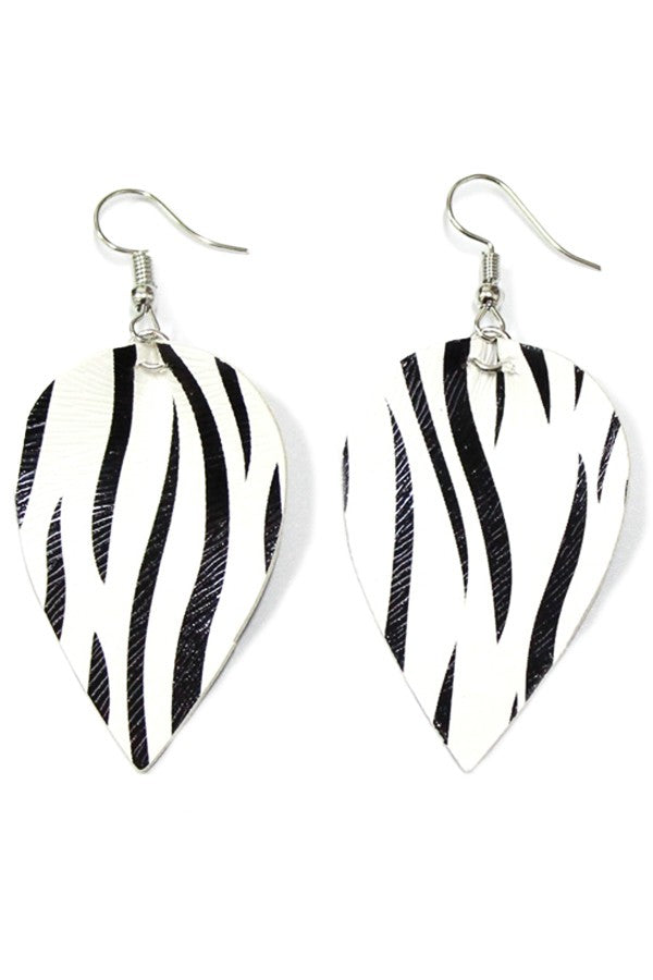 Faux Leather Zebra Print Earrings