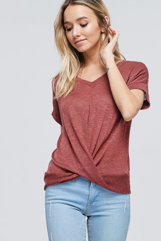 Cross Front Knit Short Sleeve Sweater