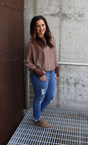 Mocha Off Shoulder Top with Suede Contrast and Thumbholes