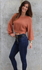 Camel Knit Top with Side Button Detail