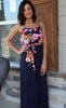 Floral and Navy Side Tie Maxi Dress