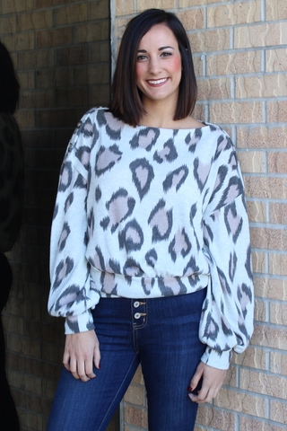 Soft Leopard Print Button Detail Sweater