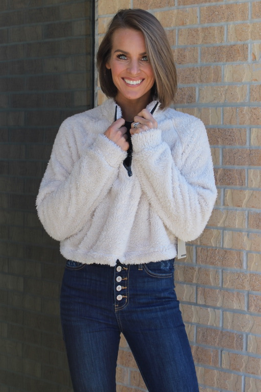 Ivory Faux Fur Mock Neck Pullover