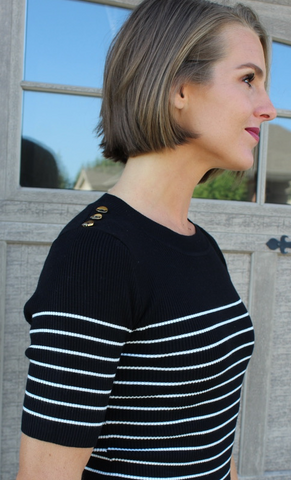 Black and White Sweater with Gold Buttons