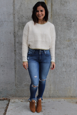 Cream and Gold Metallic Sweater