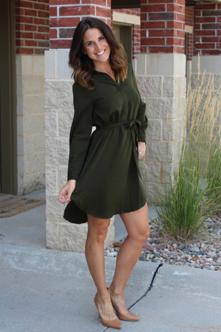 Olive Long Sleeve shirt Dress