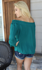 Naked Zebra Brand Off the Shoulder Teal Green Long Sleeve Top
