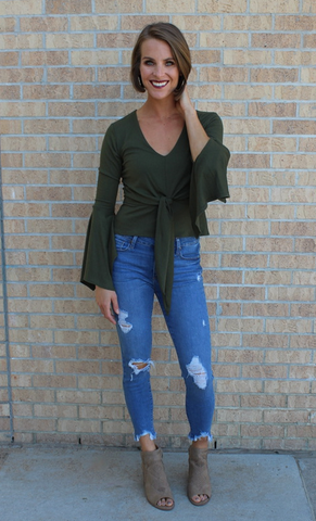 Olive V-Neck Bell Sleeve Top
