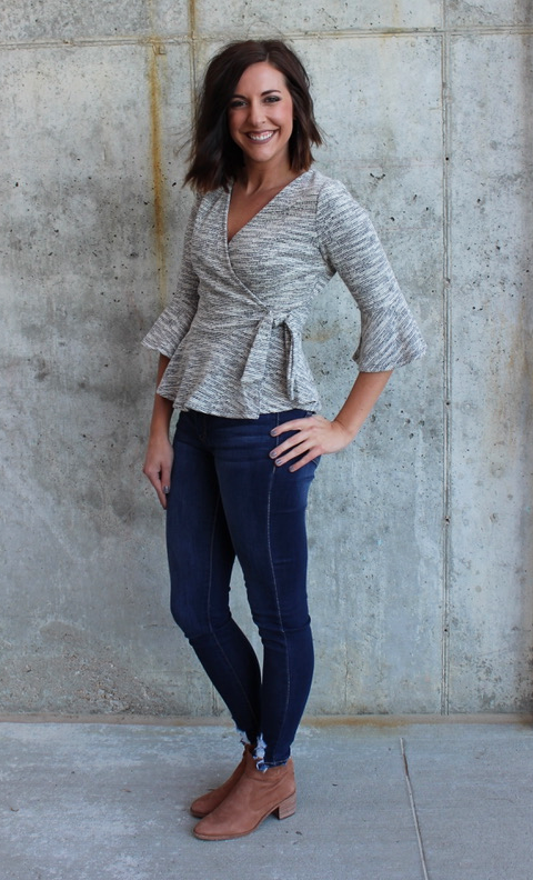 Grey Knit Wrap Sweater