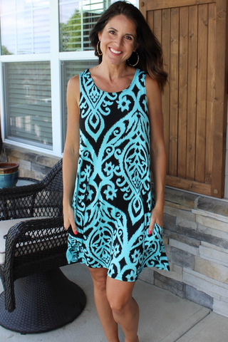 Black and Mint Swing Dress with Pockets