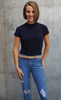 Navy Short Sleeve Mock Neck Bodysuit