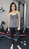 Grey Workout Tank Top with Neon Green Detail and Criss Cross Straps