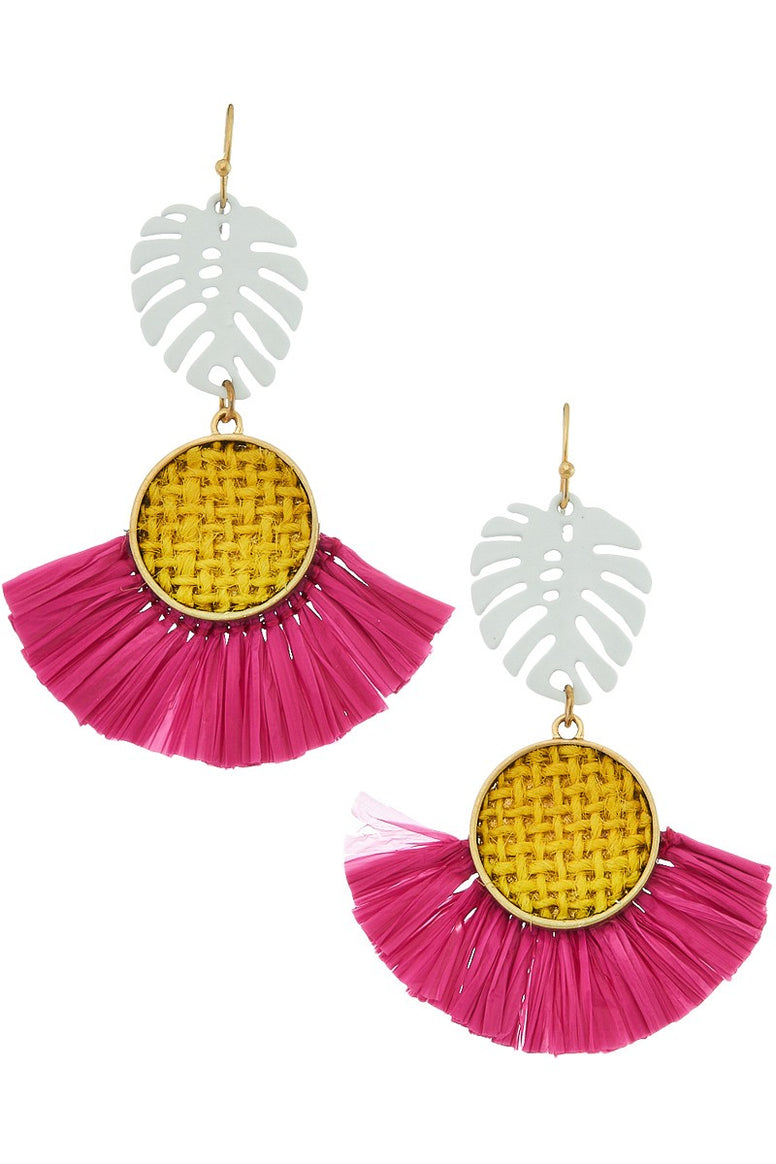Raffia Tropical Leaf Earrings