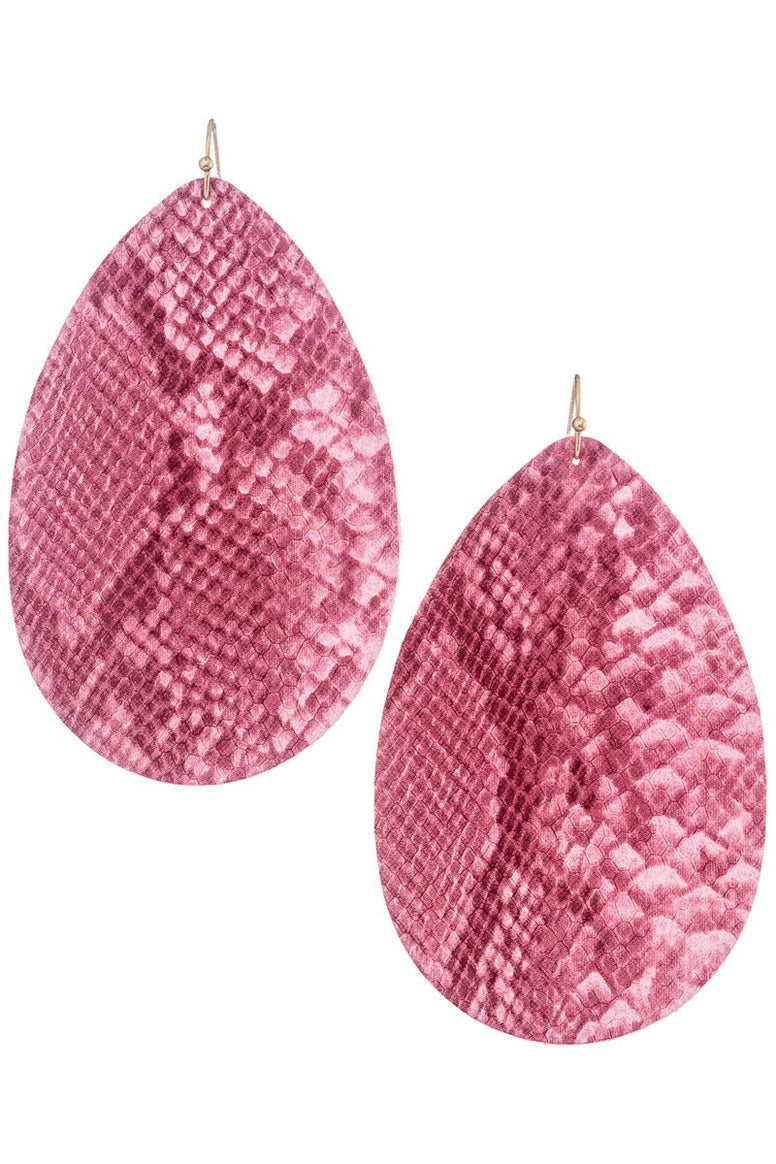 Faux Leather Pink Earrings