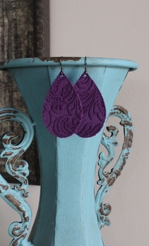 "Purple Etched Floral Leather Earrings - Medium Teardrop (2.25"")"