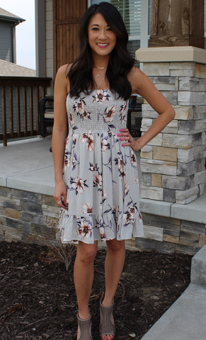 She & Sky Strapless Floral Dress