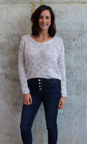 Stone Semi Cropped Sweater