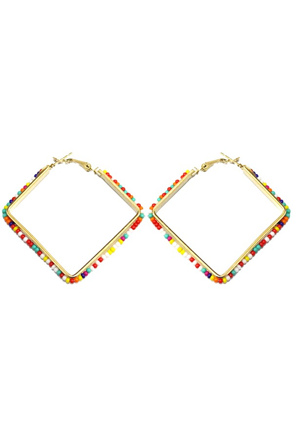 Multi-Color Beaded Square Hoop Earrings