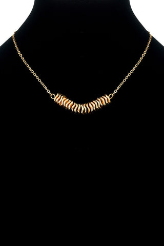 Wavy Coin Metal Charm Necklace